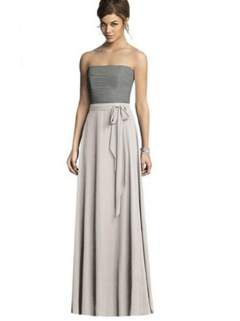 Item - Oyster / Charcoal Gray 6677 Long Night Out Dress Size 6 (S)