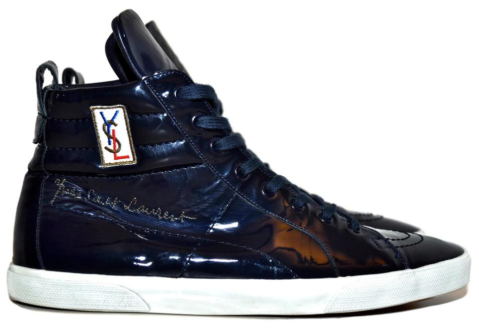 df1f6a7f59 Saint Laurent Blue Ysl Rolling High-top Navy Patent Leather Mens 43  Sneakers Size US 10 Regular (M, B) 58% off retail