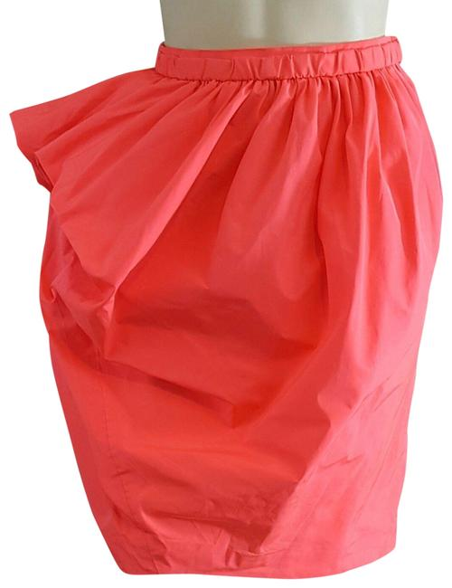 Item - Coral Neon Ruched Zipper Detail Pencil Skirt Size 0 (XS, 25)