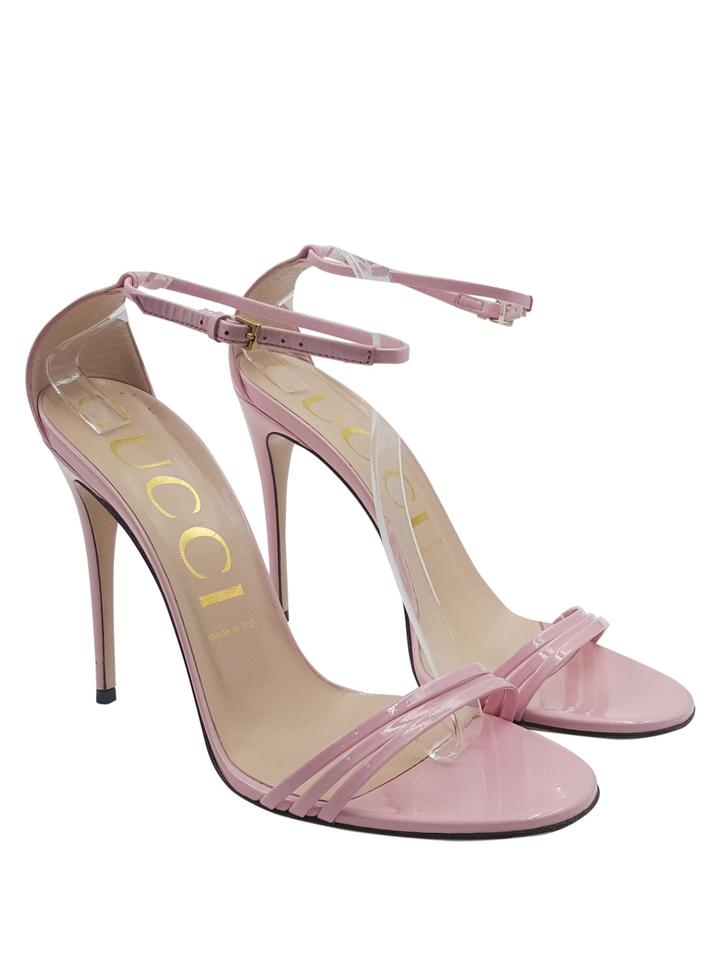 380230b0186d Gucci Patent Leather Gold Hardware Ankle Strap Open Toe pink Sandals Image  0 ...