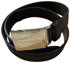 "Burberry $295 Burberry Men's ""Charles"" Horseferry Check Belt Charcoal/Black 34"
