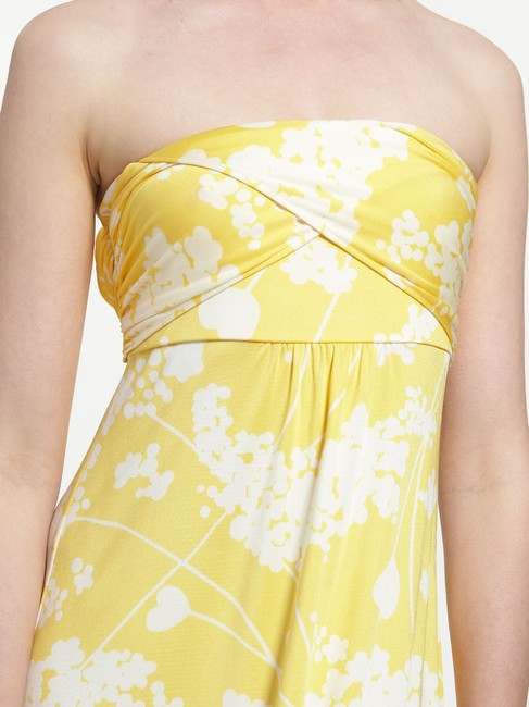 Yellow with white flower pattern Maxi Dress by Tibi Strapless Maxi Silk Empire Waist