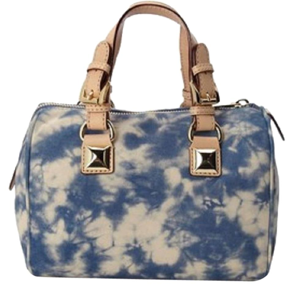 4ccd6925b747 Michael Kors Signature Large Grayson Speedy Boston Logo 35 M Michael Kors  Studs Studded Pyramid Tote Purse Satchel in Tie Dye Blue .