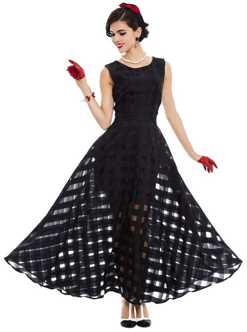 Unbranded Black Mesh Checkered Flowy Casual Maxi Long Formal Dress Size 6 (S) Unbranded Black Mesh Checkered Flowy Casual Maxi Long Formal Dress Size 6 (S) Image 1