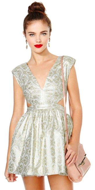 Item - White and Gold Metallic Tulle Brocade Cutouts Mini Cocktail Dress Size 0 (XS)