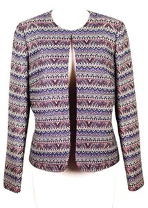Tahari Open Front Embroidered Knit Blazer Career Multi-Colored Jacket