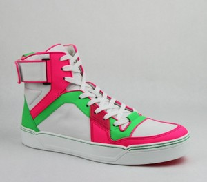 Gucci Green/Pink/White W Neon Leather High-top Sneaker W/Strap 9.5g/ Us 10.5 386738 5663 Shoes