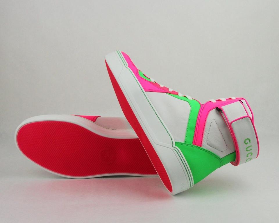 63ef61a22a92 Gucci Green Pink White Neon Leather High-top Sneaker W Strap 9.5. 12345678
