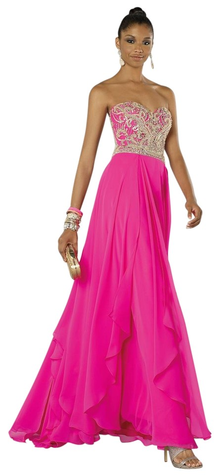 Alyce Paris Hot Pink 6420 Beaded Strapless Prom Gown Long Formal ...