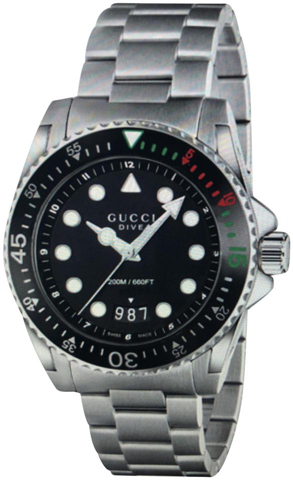 ca3eb21a921 Gucci Mens Swiss Dive XI Watch Stainless Steel Bracelet Watch 45mm Image 0  ...