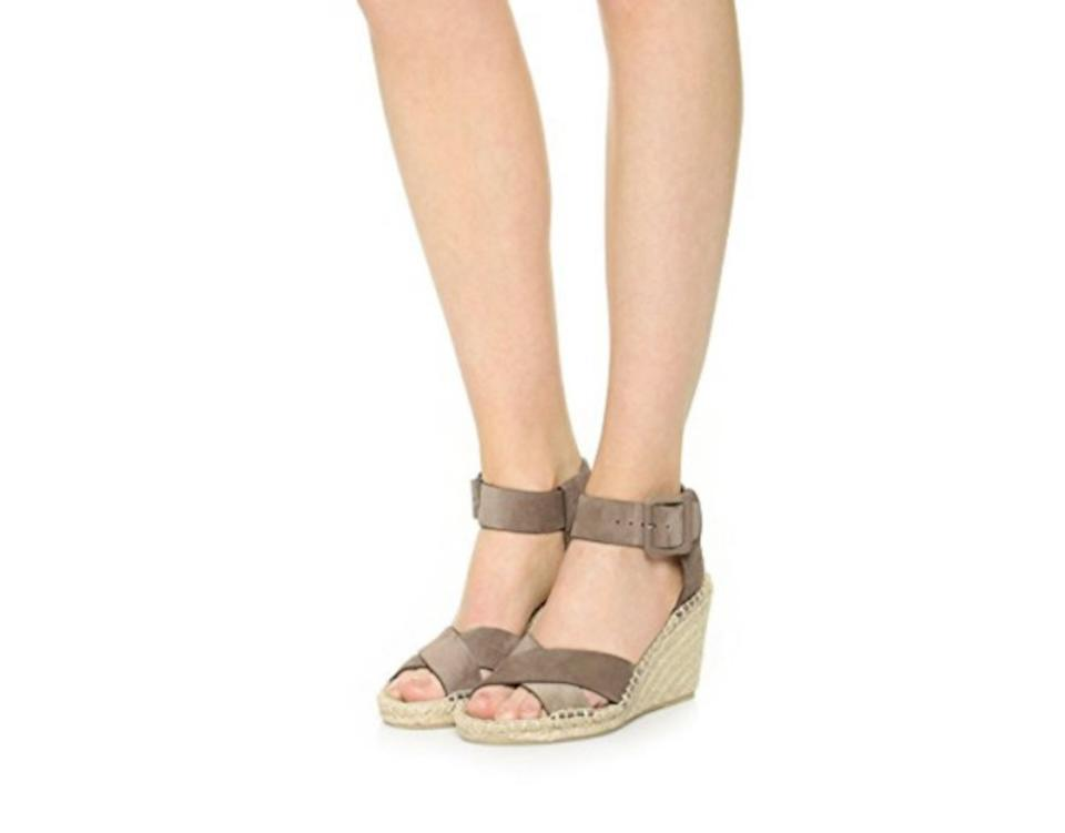 1f16bb0ae4e Vince Taupe Gray Stefania Sport Suede Espadrille Sandal Wedges Size ...