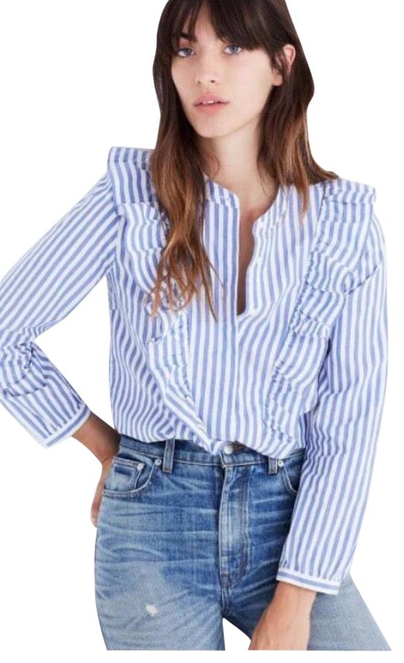 7245a9cd Madewell Blue Stripe Ruffle Blouse Button-down Top Size 6 (S) - Tradesy