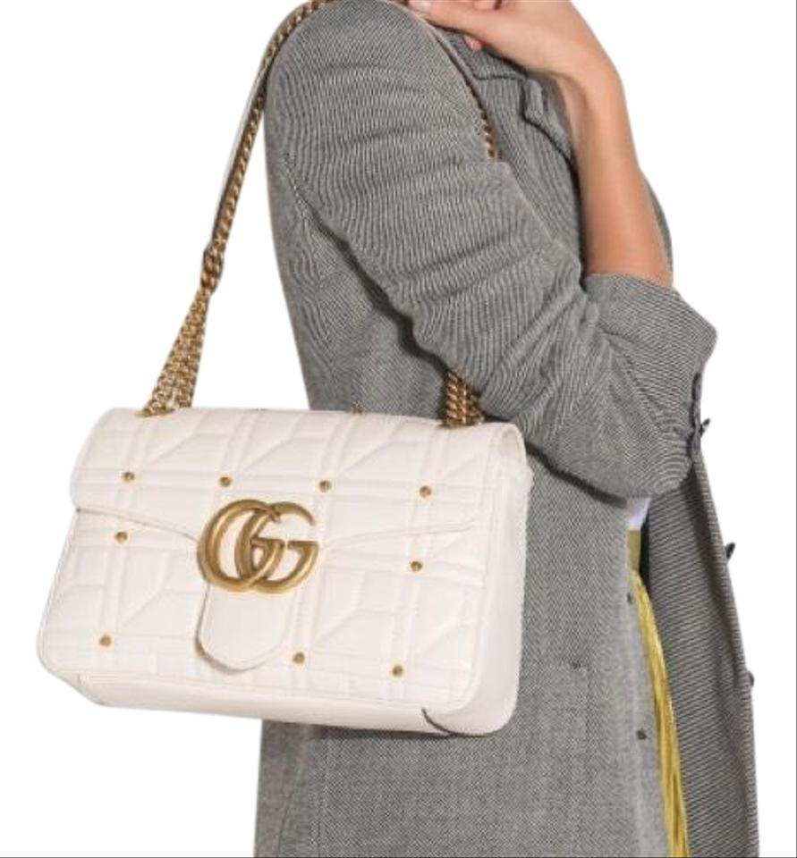 4f5a39afd538 Gucci Marmont New Matelasse White Gold Stud Flap Ivory Leather Cross ...