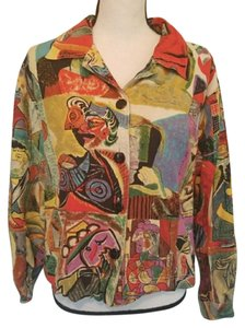 Kaktus Vintage 70s 80s Abstract Hipster Button Down Shirt Multi Color
