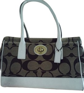 Coach Tote in Tan Brown White