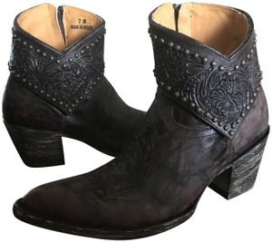 Old Gringo Leather Ankle Studded Floral Cuff Brown Boots