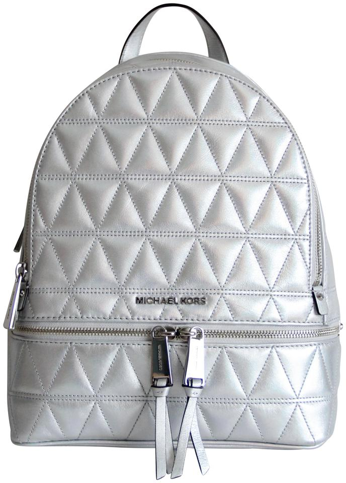 acff9c2dfd4c Michael Kors Rhea Medium Quilted Silver Leather Backpack - Tradesy