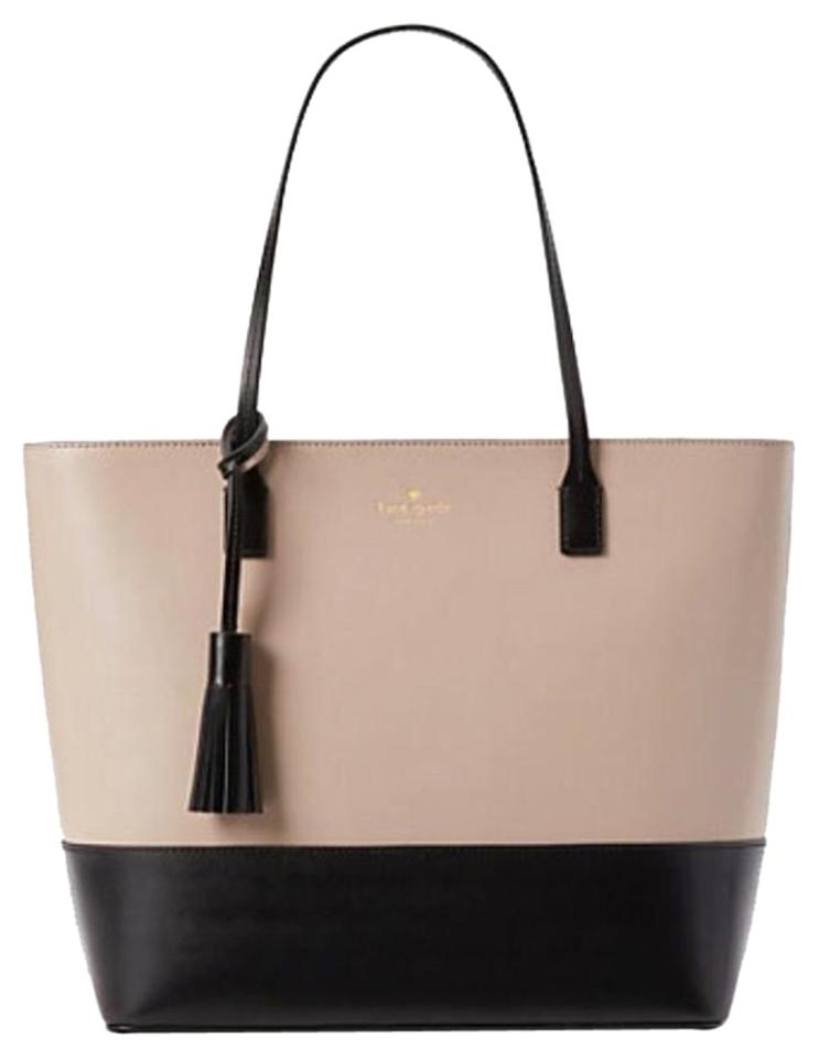 Kate Spade Leather Large Tassel Two Tone Work Tote In Black