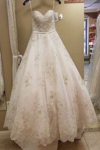Maggie Sottero Champagne/Pewter Lace/Tulle Hannah Formal Wedding Dress Size 2 (XS)