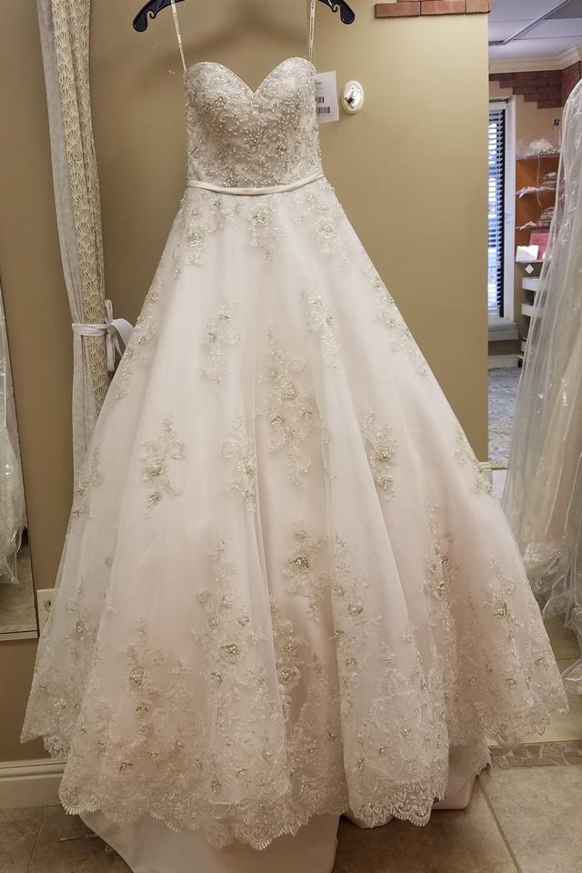 Maggie Sottero Champagne Pewter Lace Tulle Hannah Formal Wedding
