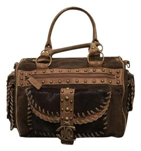Just Cavalli Horse Hair Detail Tote in Brown