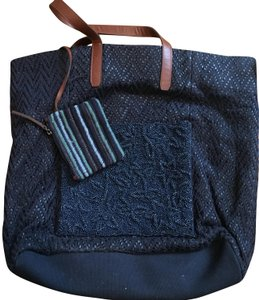 Anthropologie Beaded Woven Tote in Navy