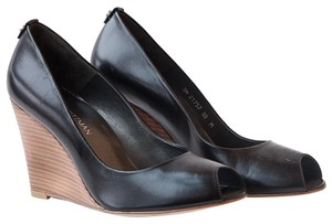 Stuart Weitzman Leather Open-toe Black Wedges