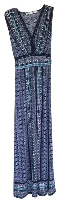 Item - Navy White and Mint 5902w60 Long Casual Maxi Dress Size 4 (S)