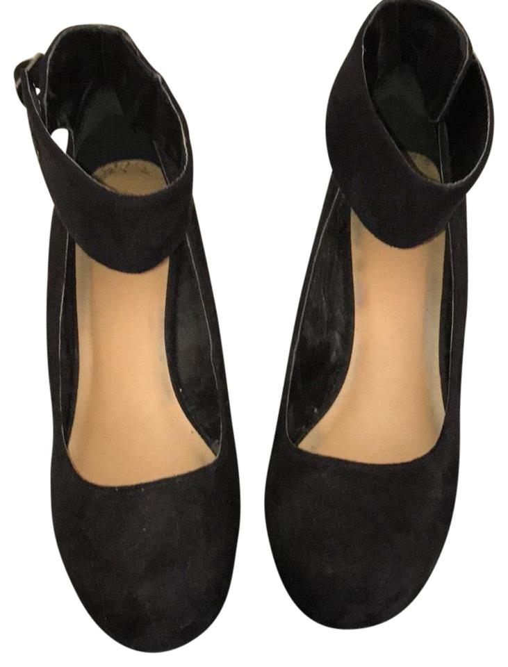 77c35fb9cdc Black Faux Suede Round Toe Platform Wedges. Size  US 9 Regular (M ...