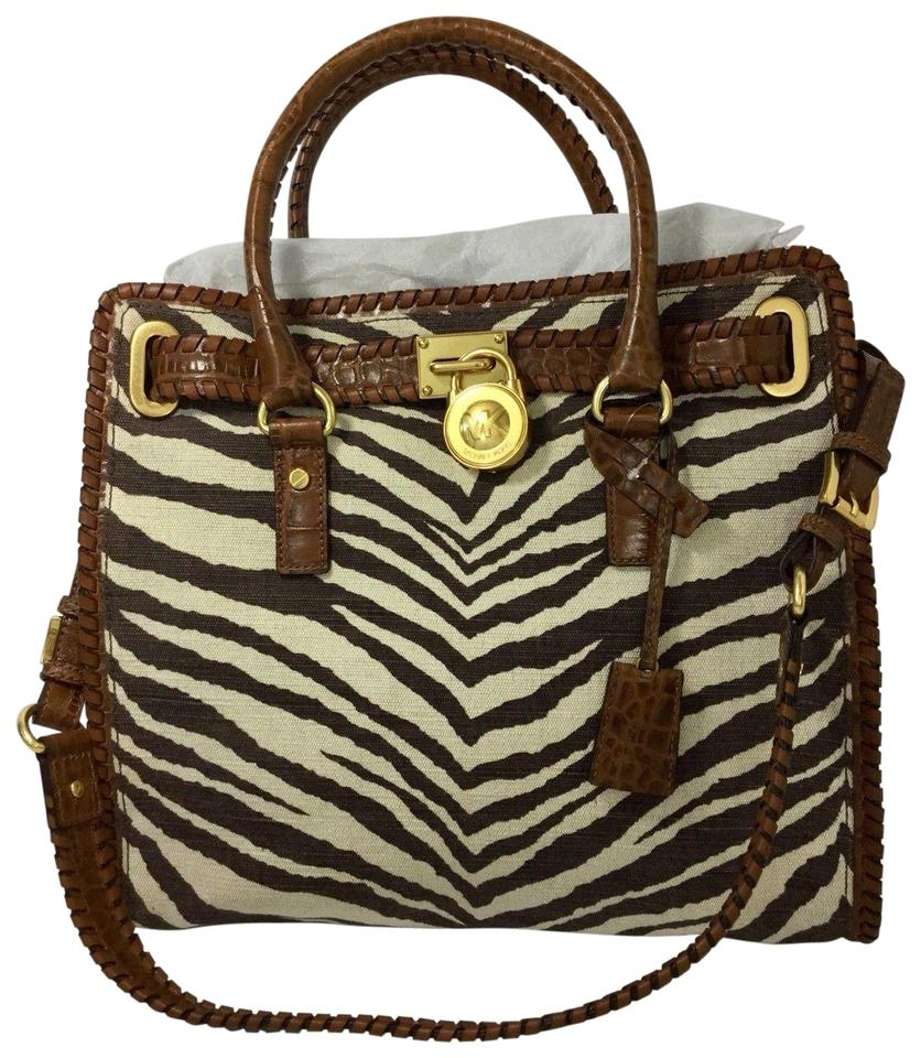 f01ae33979ee Michael Kors Hamilton Ns Large Zebra Whipped Croco Tiger Brown and White  Canvas Leather Tote