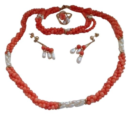 Other 14k Coral Necklace, Bracelet, Earrings And Ring Set.