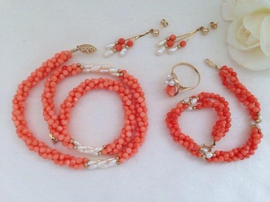 Other 14k Coral Necklace, Bracelet, Earrings And Ring Set. Image 1