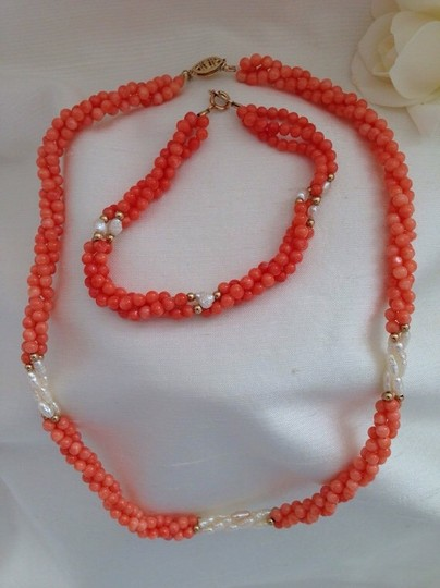 Other 14k Coral Necklace, Bracelet, Earrings And Ring Set. Image 2