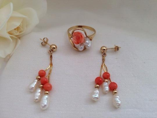 Other 14k Coral Necklace, Bracelet, Earrings And Ring Set. Image 3
