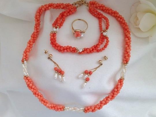 Other 14k Coral Necklace, Bracelet, Earrings And Ring Set. Image 4