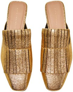 Zara Metallic Gold Mules
