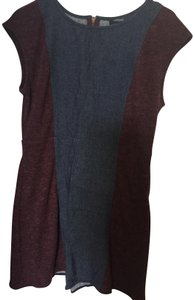 Theme short dress denim blue and maroon Color-blocking Stretchy Bodycon on Tradesy