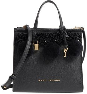 Marc Jacobs The Grind Pom Pom Beads Leather Antique White Satchel/Tote Satchel in Black