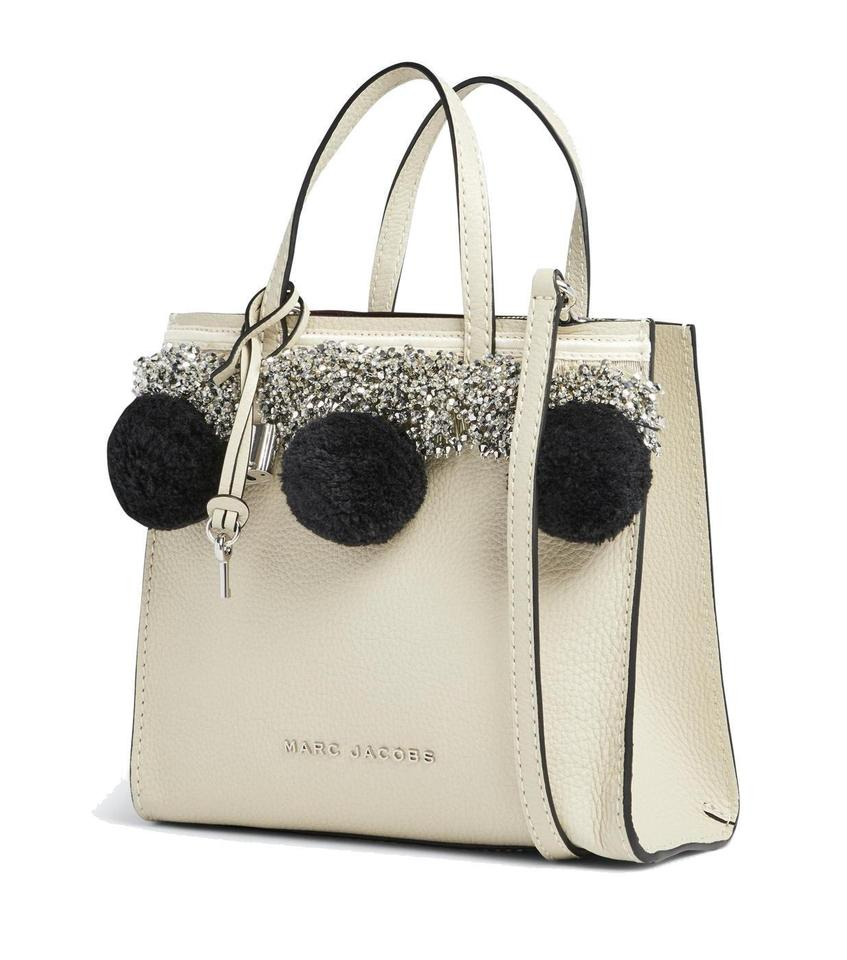 b7e42e3306ad Marc Jacobs Beads And Pompom Grind Grained Leather Small Satchel in Antique  White Image 0 ...