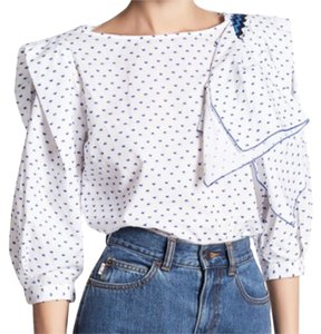 Marc Jacobs Dot Pattern Front Ruffle 3/4 Sleeves Barrel Cuff Comfy Cotton Top NWT White Blue