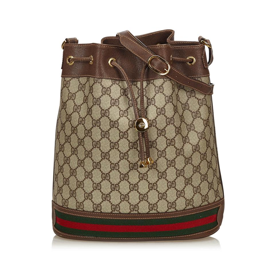 faf83a4a1e2 Gucci Guccissima Web Bucket Brown Plastic X Pvc X Leather X Others ...
