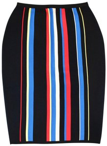 Versace Skirt Black with vertical stripes of blues and reds