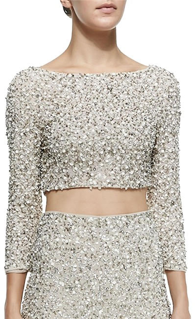 Item - Bead Embellished Crop White Gold Silver Top