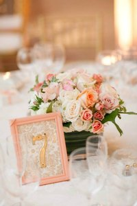 Peach Pink White Gold 16 Table Numbers - Pink/Peach/Gold/White - Handmade