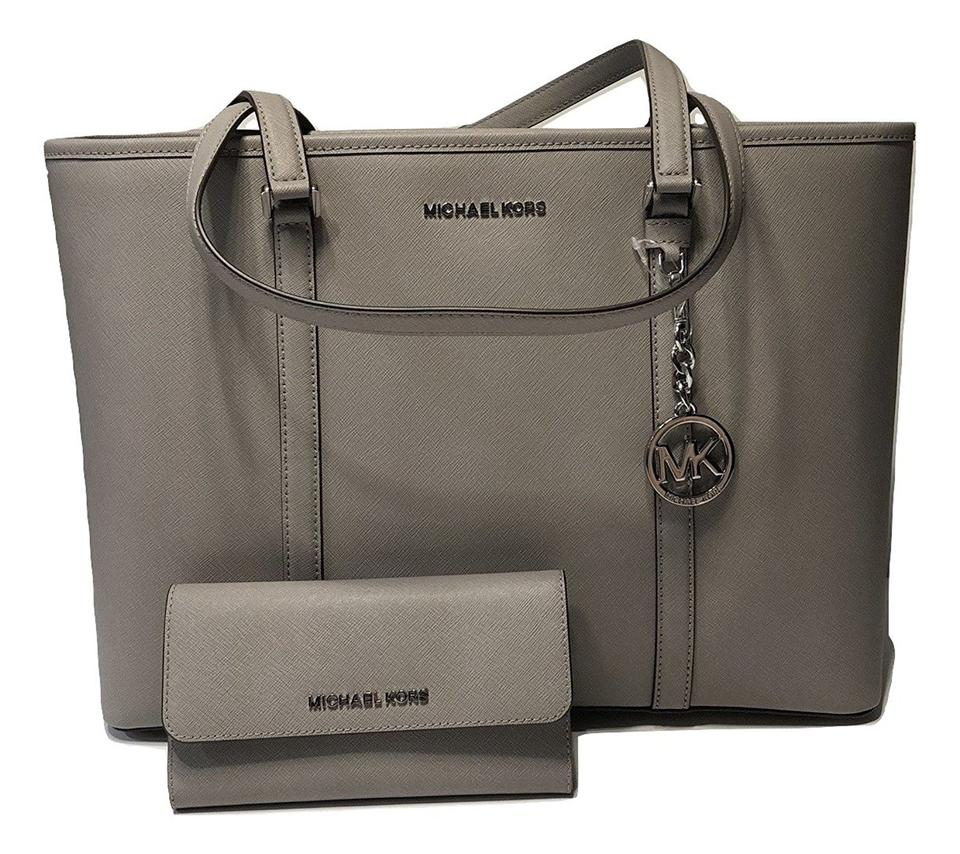 Michael Kors Sady Large Tote   Matching Wallet Pearl Grey Saffiano ... 63ca2d62c4eff