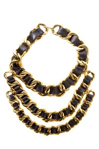 Chanel Vintage Black Leather & Gold-Tone Chain Necklace