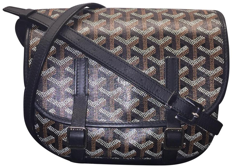 95c1430cefb0 Goyard Belvedere Pm Chevron Noir Brown Tan White Crossbody Shoulder Black  Goyardine Canvas Messenger Bag