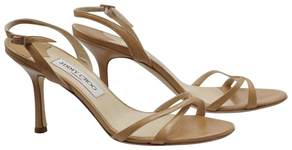 d5b1e3bfcdbd Jimmy Choo Camel 38.5 Jag Kid Nude Strappy Heels Leather Sandals ...