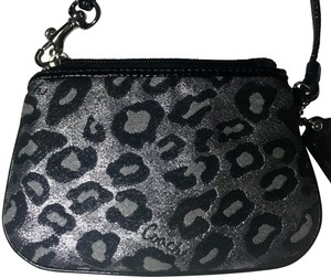 Coach Wristlet in Grey, silver, black, leopard, cheetah