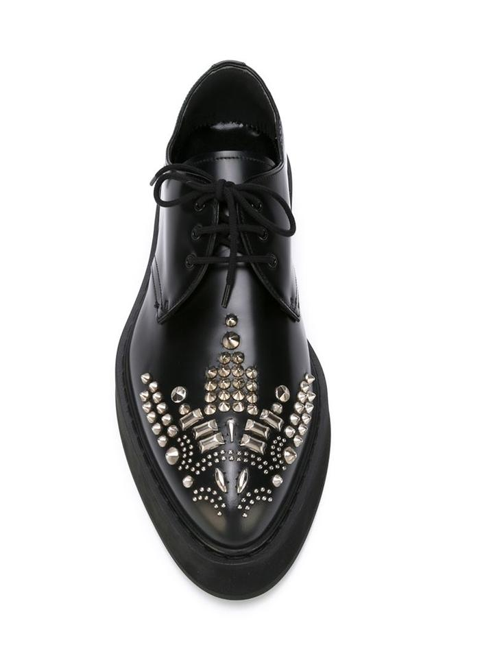 b3e900e0122 Alexander McQueen Black Studded Leather Lace-up Runway Derby/Brogues  Platforms